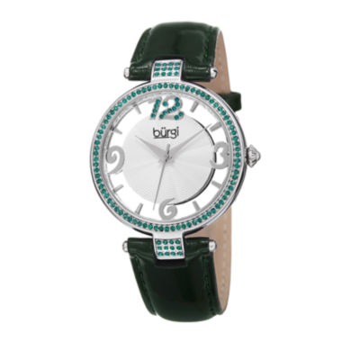 jcpenney.com | Burgi Womens Green Crystal Green Leather Strap Watch