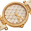 bürgi Womens Quilted-Look White Leather Strap Watch
