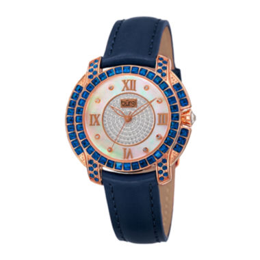 jcpenney.com | Burgi Womens Diamond Accent Crystal Rose-Tone and Blue Strap Watch