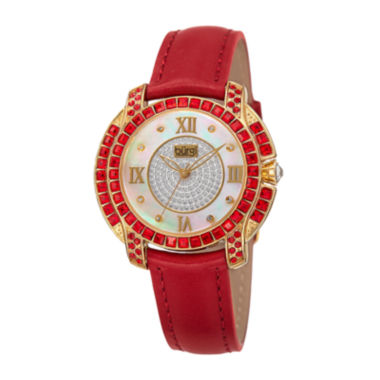 jcpenney.com | Burgi Womens Red Crystal-Accent Red Leather Strap Watch