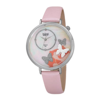jcpenney.com | Burgi Womens Diamond Accent Silver-Tone Mother-of-Pearl Pink Butterfly Strap Watch