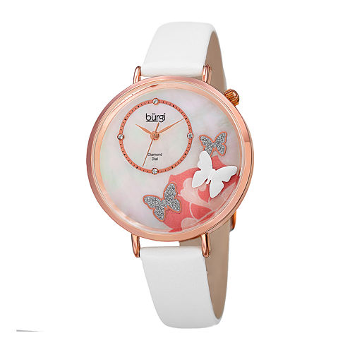 Burgi Womens Diamond Accent Mother-of-Pearl Rose-Tone White Butterfly Strap Watch