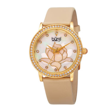 jcpenney.com | Burgi Womens Flower Dial Tan Leather Strap Watch