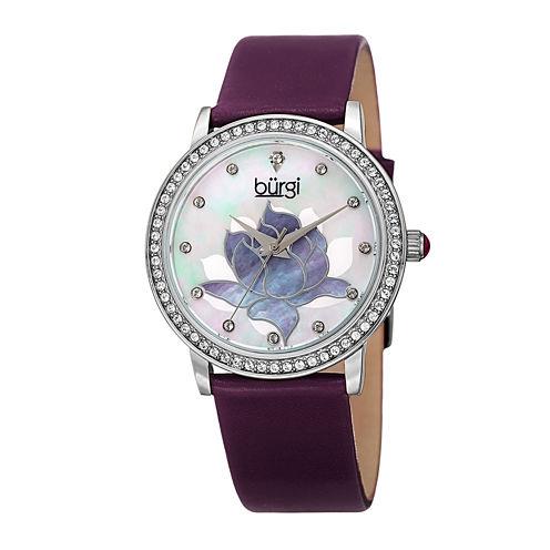 Burgi Womens Flower Dial Purple Leather Strap Watch