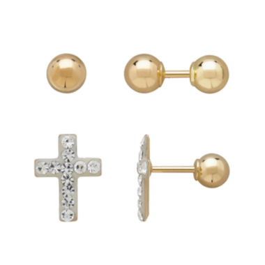 jcpenney.com | Infinite Gold™ Kids 14K Yellow Gold Crystal-Accent Cross and Ball Stud 2-pr. Earring Set