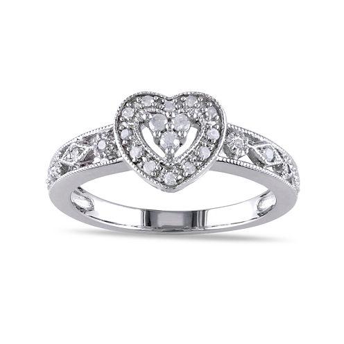 1/8 CT. T.W. Diamond Sterling Silver Heart Ring