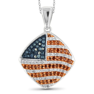 jcpenney.com | 1/3 CT. T.W. White and Color-Treated Red & Blue Diamond Flag Pendant