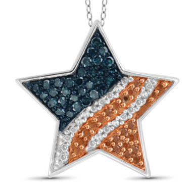 jcpenney.com | 1/4 CT. T.W. White and Color-Treated Red & Blue Diamond Star Flag Pendant
