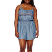 Arizona Ruffle Chambray Romper - Juniors Plus