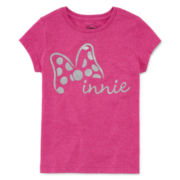 Disney Short-Sleeve Glitter Bow Graphic Tee - Girls