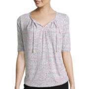 Liz Claiborne® Elbow-Sleeve Tie-Front T-Shirt - Petite