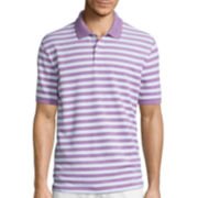 St. John's Bay® Short-Sleeve Striped Oxford Piqué Polo Shirt