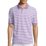 St. John's Bay® Short-Sleeve Striped Oxford Piqué Polo Shirt