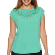 Liz Claiborne® Cap-Sleeve Embroidered Cut-Out Yoke Top - Petite