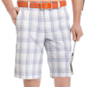 IZOD® Golf Flat-Front Plaid Shorts