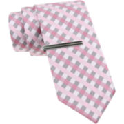 JF J. Ferrar® Gingham Tie and Tie Bar Set - Slim