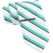 JF J. Ferrar® Three-Bar Stripe Tie and Tie Bar Set - Slim