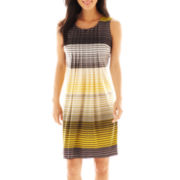 Perceptions Sleeveless Pleated Print Dress