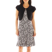 Perceptions Print Dress with Cap-Sleeve Jacket - Petite