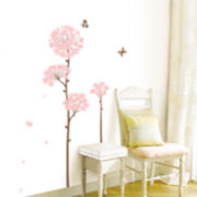 Art.com Long Stem Pink Flower Butterfly Petals Wall Decal
