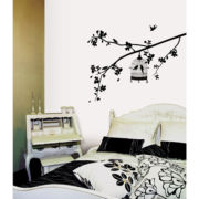 Parisian Spring Bird in Tree Silhouette Wall Decal