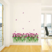 Art.com Tulips and Butterflies Purple Pink Wall Decal