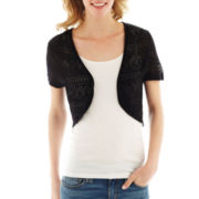 Takeout Short-Sleeve Pointelle Shrug