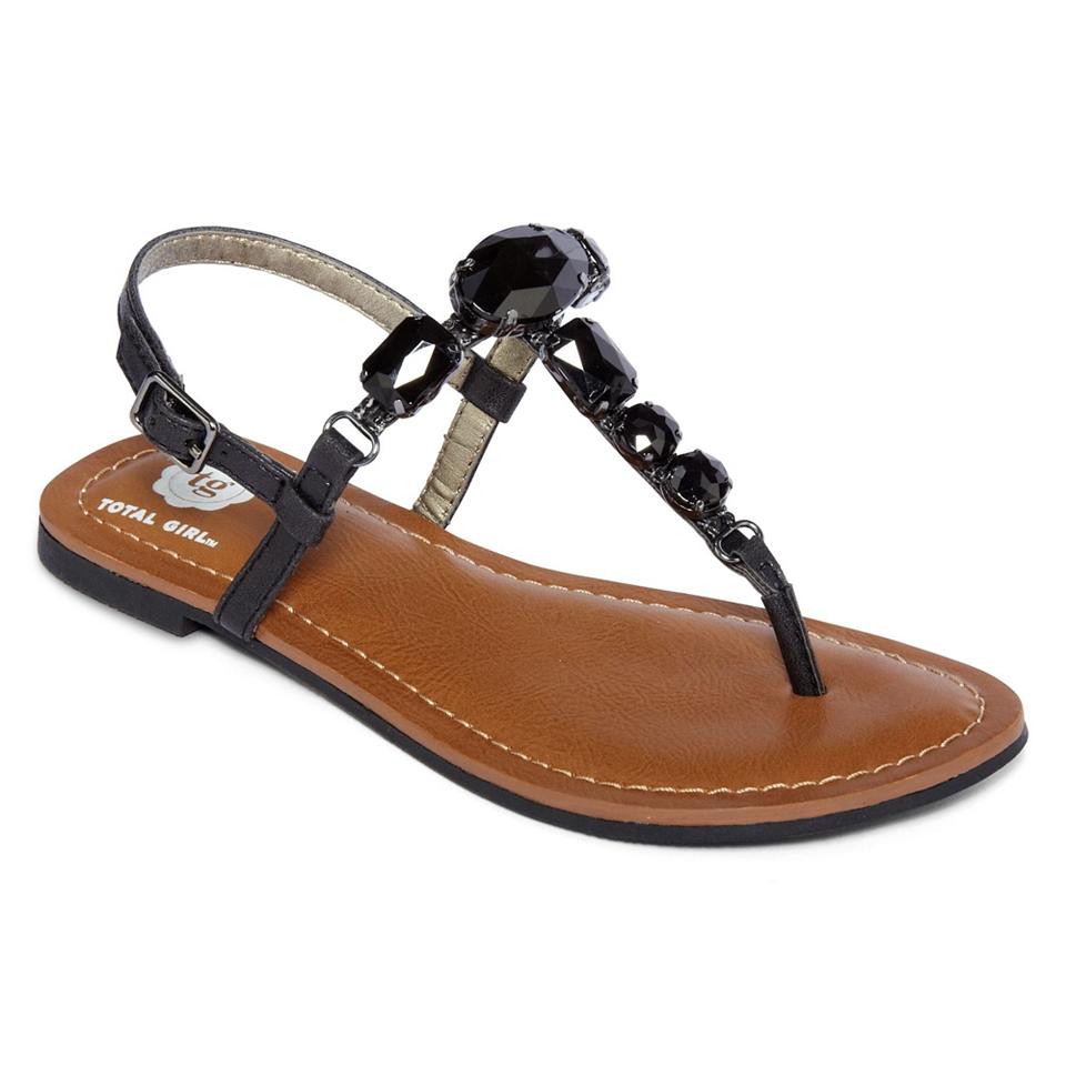 Total Girl Mystique Stone Girls Sandals, Black, Girls
