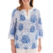 Alfred Dunner® Shore Thing Coral Reef Print Tunic Top