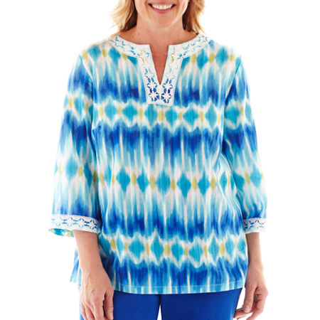 Alfred Dunner Isle of Capri Ikat Print Tunic Top - Plus