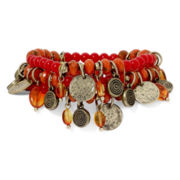Aris by Treska Coin Drop and Multicolor Bead Statement Bracelet