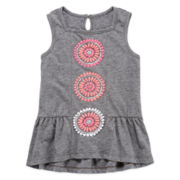 Arizona Puff-Print Peplum Tank Top – Preschool Girls 4-6x
