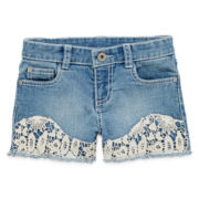 Arizona Crochet-Front Denim Shorties – Preschool Girls 4-6x