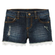 Arizona Lace-Hem Denim Shorties - Preschool Girls 4-6x