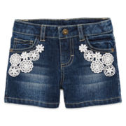 Arizona Lace-Pocket Denim Shorties – Preschool Girls 4-6x