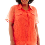 Alfred Dunner® Sunny Days Short-Sleeve Burnout Layered Top - Plus