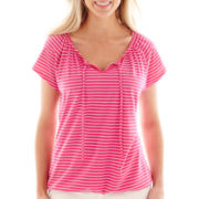 St. John's Bay® Short-Sleeve Tie-Front Top - Petite
