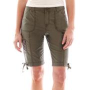St. John's Bay® Poplin Cargo Bermuda Shorts - Petite