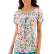 Worthington® Short-Sleeve Ruffle Blouse - Petite