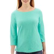 Liz Claiborne® 3/4-Sleeve Shadow-Striped Top