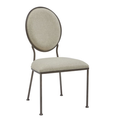 Oval Back Linen Dining Side Chair