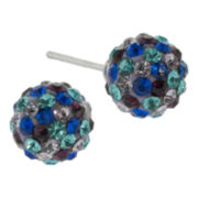 Sterling Silver Multicolor Crystal Ball Stud Earrings