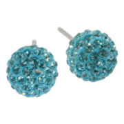 Sterling Silver Aqua Crystal Ball Stud Earrings