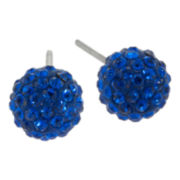 Sterling Silver Royal Blue Crystal Ball Stud Earrings