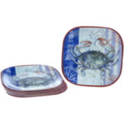 Crab Set of 6 Melamine Dinner Plates