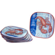 Lobster Set of 6 Melamine Dinner Plates
