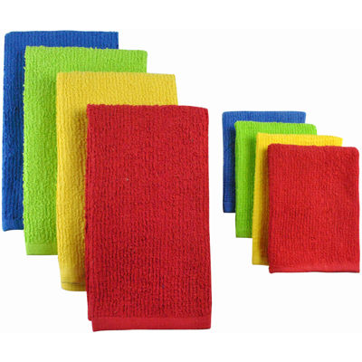 Set Of 8 Terry Primary Dish Towels And Dish Cloths