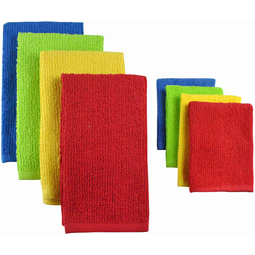 Terry Primary Set of 8 Kitchen Towels and Dish Cloths