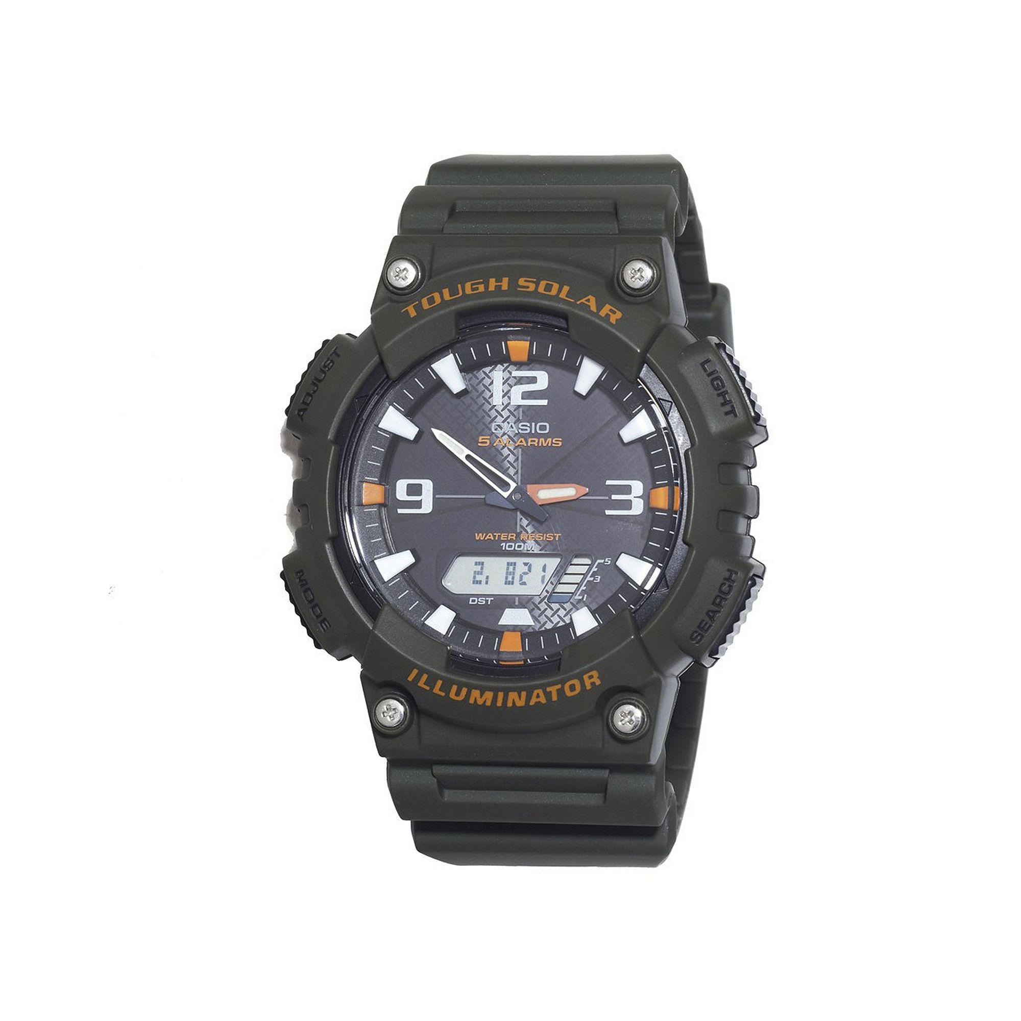 Casio Tough Solar Sport Mens Black and Orange Multifunction Watch AQS18W-3AVCF