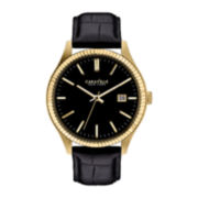 Caravelle New York® Gold-Tone Case & Black Leather Strap Watch